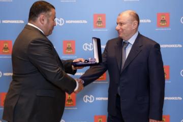 Vladimir Potanin awarded with honorary badge