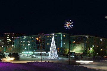 New Year illumination lit in Dudinka