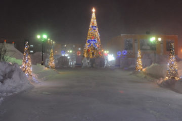 Polar night in Norilsk lit by fireworks