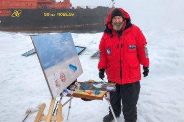 Fedor Konyuhov paints at North Pole